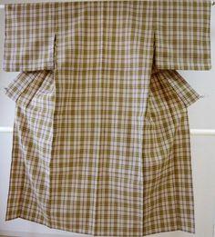 Kimono Dress Japan Geisha costume Check SummerWool used Vintage Hitoe 1610S01S15
