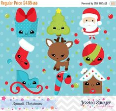 80% OFF INSTANT DOWNLOAD kawaii christmas by JessicaSawyerDesign