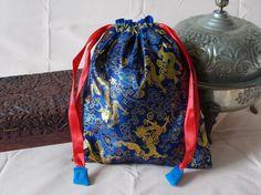 Chinese brocade drawstring bag dark blue by EcoTurtleUpcycling