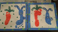 #Eastern painting With #footprints of the kids for #present for #grandparents inspiriert of pintrest