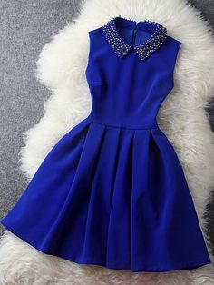 cute decorated collar sapphire blue dress - this would look cute for a new years party dress or something formal Pretty Outfits, Pretty Dresses, Beautiful Dresses, Cute Blue Dresses, Gorgeous Dress, Short Dresses, Prom Dresses, Formal Dresses, Mini Dresses