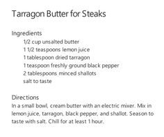 Tarragon Butter for Steaks