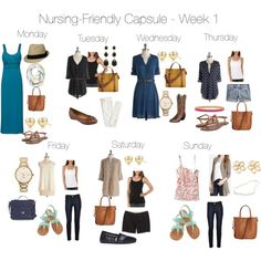 """Nursing-Friendly Capsule Wardrobe - Week 1"" by pearlsandcupcakes on Polyvore"