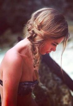 Messy side braid is perfect for the lake.
