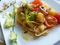 Spaghetti con totano zucchine e patate