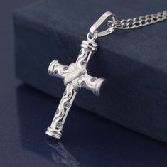 Cross Necklace Sterling Silver Cross Necklace by theangelfaith