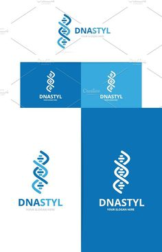 Vector of dna and chromosome logo combination. Gene and helix symbol or icon. Unique spiral and molecular logotype design template.. Illustrations