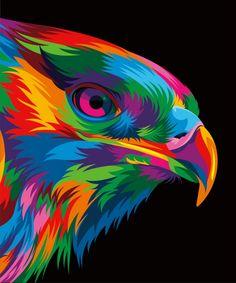 13 Colorful Animal Vector Illustration on Behance Colorful Animal Paintings, Colorful Animals, Abstract Animals, Pixel Art, Posca Art, Pop Art Portraits, Desenho Tattoo, Rainbow Art, Arte Pop