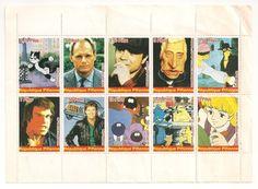 Planche de 10 timbres République Pifienne - Hallyday - année 1989 (ultra-rare)