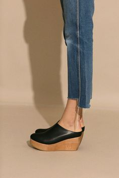 Sydney Brown Vegan Black Platform Clog