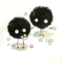 Soot Spirits from Spirited Away- these are my favorite creatures. They also make an appearance in My neighbor Totoro.