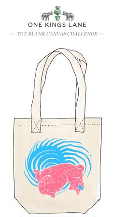 Cast your vote for Michael Burk's tote bag design by re-pinning it! Visit www.onekingslane.com/designchallenge for info on the contest rules and more!