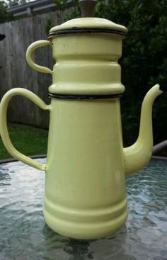 Vintage Mid-Century Yellow Enameled Biggin Coffee Pot