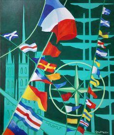 Armada Rouen 2019 Huile sur toile 81x100cm Abstract, Artwork, Oil On Canvas, Summary, Work Of Art, Auguste Rodin Artwork, Artworks, Illustrators