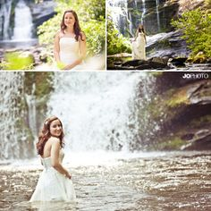 Trash the dress with a bride in a waterfall. Bridal photo ideas, fun trash the dress pictures, waterfall wedding photos. Click to view more pictures!