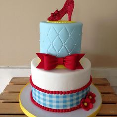 Red, Blue & White Gingham and Tufted Wizard of Oz Cake with Ruby Slipper Topper