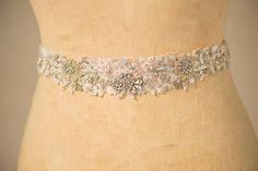 Three Dimensional Floral Embroidered & Crystal Accent Sash - ESME SASH…