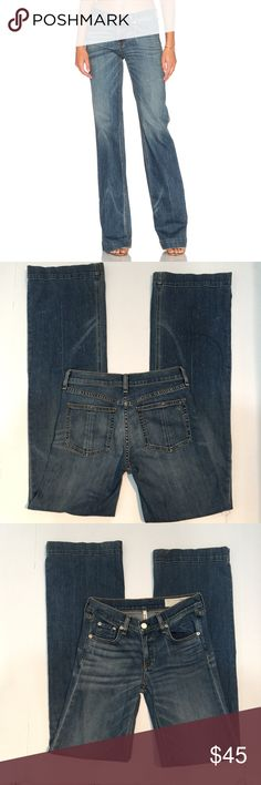 rag & bone Wide Leg Jeans, size 25 rag & bone Wide Leg Jeans in size 25. Flat lay measure of the waist is 13.5. Rise is 8, inseam is 34.5, and leg opening is 10. Made from 98% cotton and 2% polyurethane. Features factory fading with dotting on lower part of legs, and light whiskering. Color is Brick Lane, a mid wash faded blue. In overall very good condition, please ask if you have any questions. rag & bone Jeans Flare & Wide Leg