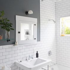 Before & After: A DIY Couple Tackle Their 1915 Craftsman in San Diego - Photo 19 of 20 - White subway tiles and dark grout give the new bathroom a crisp, clean look. Bathroom Interior, Modern Bathroom, Small Bathroom, Colorful Bathroom, Small White Bathrooms, Small Bathtub, Bathroom Colors, Small Rooms, Master Bathroom
