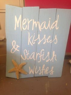 Mermaid Kisses and Starfish Wishes on Etsy, $30.00 Beach Theme Bathroom, Beach Bathrooms, Beach Room, Nautical Bathrooms, Hall Bathroom, Bedroom Themes, Girls Bedroom, Bedroom Decor, Girls Nautical Bedroom