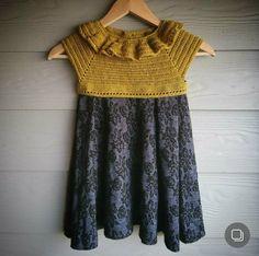 Disse kjoler kan laves i mange forskellige udgaver. Mulighederne synes uendelige, det hele afhænger af dit valg af garn, stof og model. De består af et hæklet bærestykke og et syet skørt. Jeg har l… Baby Barn, Knitting For Kids, Chrochet, Crochet Clothes, Grandchildren, Little Ones, Crochet Top, Short Sleeve Dresses, Sewing