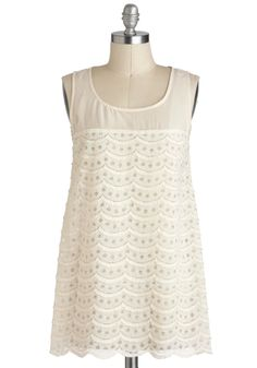 Sail Away in Dreams Top - Sheer, Long, White, Scallops, Casual, Sleeveless