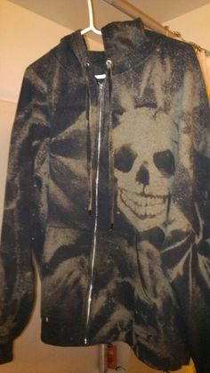 Be creative with your bleach. I used a stencil I cut and twisting technique to make this old black hoodie new