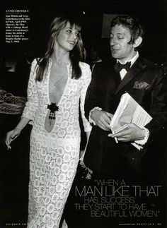 Jane Birkin, Serge Gainsbourg and that crochet lace dress Serge Gainsbourg, Gainsbourg Birkin, Estilo Jane Birkin, Jane Birkin Style, 70s Fashion, Vintage Fashion, Style Fashion, Seventies Fashion, Vintage Style