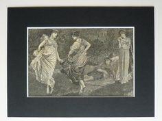 Original 1882 Print Of Girls Dancing  Woodland Clearing  WF