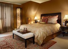 Walls: AURA® Matte Waterborne Interior Paint (522) in valley forge brown (HC 74)   Ceiling: AURA Matte Waterborne Interior Paint (522) in bronzed beige (2151-50)   Accent colors: golden chalice (2151-20), adobe dust (2175-40)