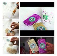 Diy phone case: glue, add glitter, a label or printout. Let it dry