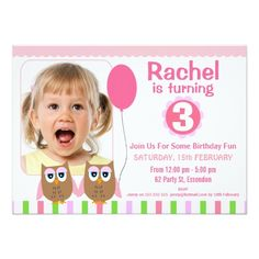 388 best 3rd birthday party invitations images on pinterest 23 owls photo 3rd birthday party invitation filmwisefo