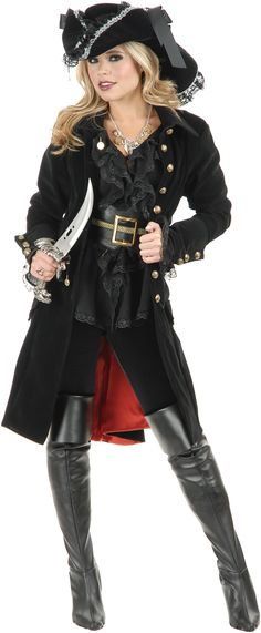 This is a very stylish coat for pirate, love the skull buttons! #Halloween