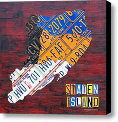 License Plate Map Of Staten Island New York Nyc Stretched Canvas Print.
