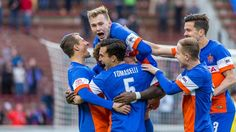 FC Cincinnati players celebrate after one of their goals in their home opener on April 9.