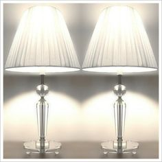 PAIR of NEW Modern Table Bedside LAMPS with CRYSTALS on STEM   eBay