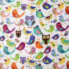 Owls+and+Birds+Children's+Throw+BlanketCotton+and+by+TotsTreasures,+$65.99