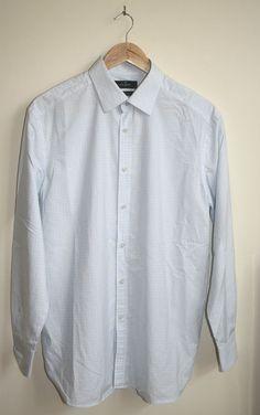 Jeff Banks London Mens Long Shirt Size L 100% Cotton  Blue Check Stylish Special