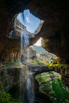 "The Baatara Gorge Waterfall, or ""Three Bridge Chasm,"" in Tannourine, Lebanon Beautiful Waterfalls, Beautiful Scenery, Beautiful Landscapes, Beautiful World, Beautiful Places, Travel Tours, Travel Ideas, Travel Destinations, Luxury Landscaping"