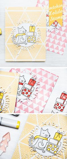 Stretch your Holiday stamps and create cards for other occasions. Fun and easy Birthday Card using Simon's Gifts of Love stamps set.