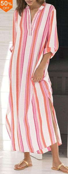 【Buy Now】Casual Women Striped Button Neck Split Hem Long Sleeve Dress Stylish Outfits, Fashion Outfits, Women's Fashion, Fashion And Beauty Tips, Love Clothing, Pretty Dresses, Casual Dresses, Casual Wear, Vintage Outfits