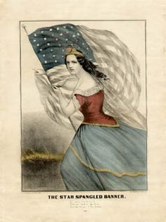 George Glazer Gallery, New York City. Antique prints, maps and globes. Currier & Ives - The Star Spangled Banner. Star Spangled Banner, Pictorial Maps, American Illustration, Currier And Ives, Old Glory, Antique Prints, Natural History, American History, Folk Art