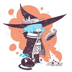 Some fake inktober (or diginktober) young blue hair witches themed Character Illustration, Illustration Art, Desenhos Halloween, Witch Drawing, Under Your Spell, Dibujos Cute, Witch Art, Illustrations, Character Design Inspiration