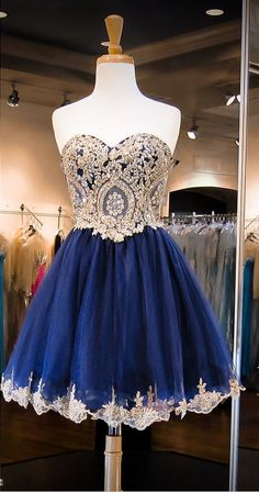 $139-Dark Navy Crystals Beaded Short Homecoming Dresses Sweetheart Neck Lace Trim Cocktail Dresses