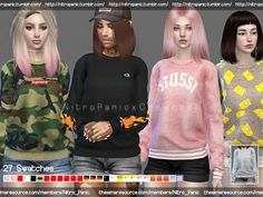 The Sims Resource: Crewneck Sweater Sweatshirt Collection by Nitro_Panic • Sims 4 Downloads