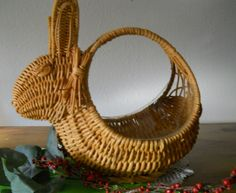 "#Bunny #Basket, #8"" tall, Wicker, #Natural color,... 
