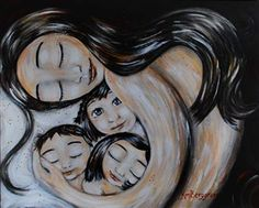 Veva's Home - mother with three toddlers print by Katie m. Berggren