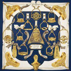 Hermès - Etriers, signé Françoise de la Perrière (1964) White Silk, Navy 4ff75d2100b