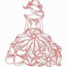 Victorian Ladies Redwork - Designs by Technique | Machine Embroidery Designs