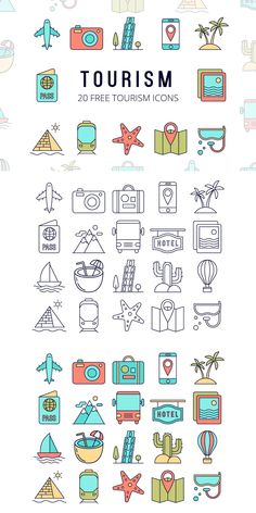 Free Tourism Vector Icon Set : Free Tourism Vector Icon Set contains 20 high quality thematic icons. Each has 2 options: linear and painted. These images can be useful in creating an application or site design, in printed advertising materials. Mini Drawings, Doodle Drawings, Easy Drawings, Icon Set, Vector Icons, Vector Free, Travel Icon, Sketch Notes, Icon Collection